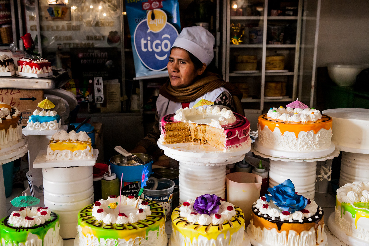 Desserts at the Mercado Central, main market in Sucre, Bolivia