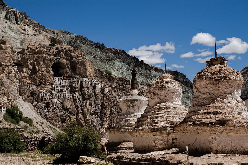 First glimpse of Phuktal monastery, Zanskar, India