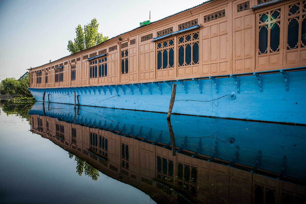 Houseboats on Dal lake in Srinagar, Kashmir