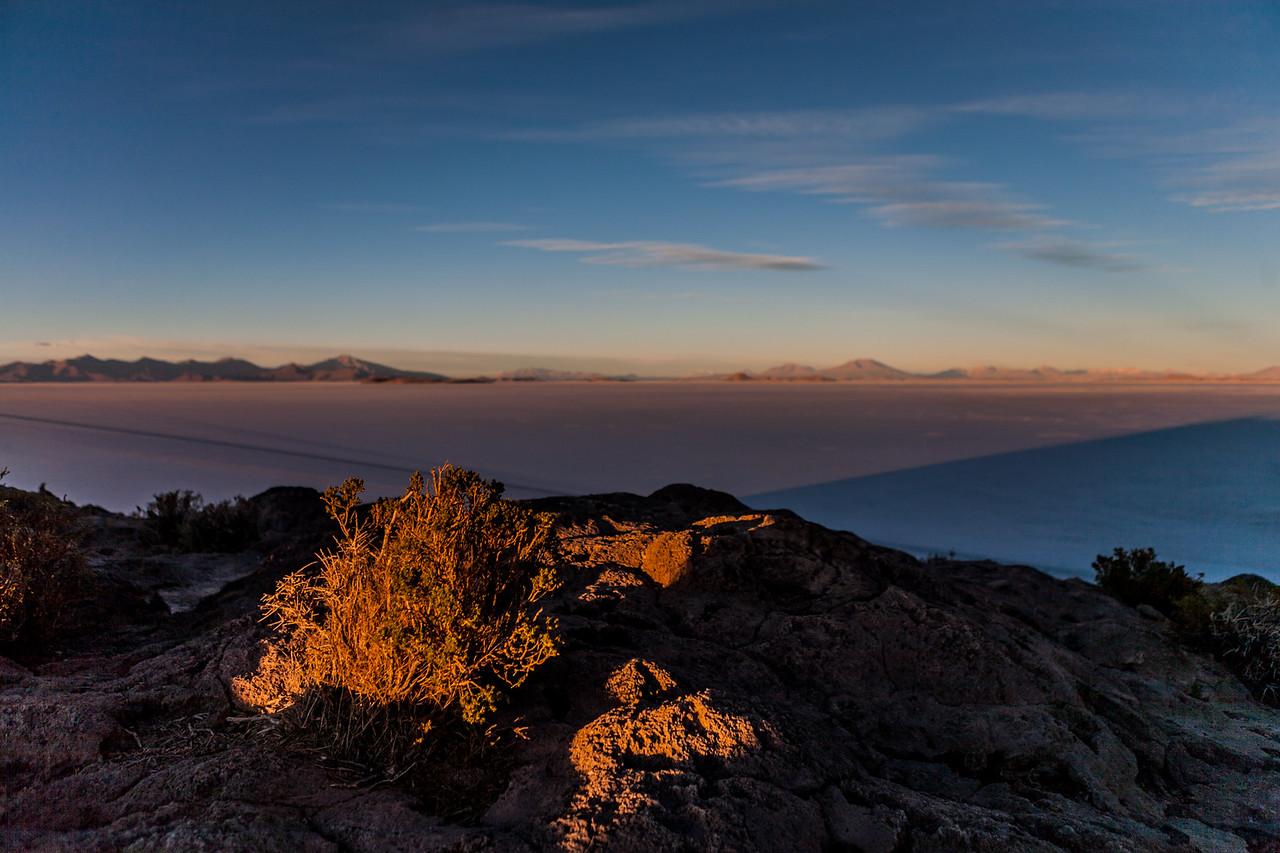 Sunrise from Incahuasi island Salar de Uyuni, Bolivia