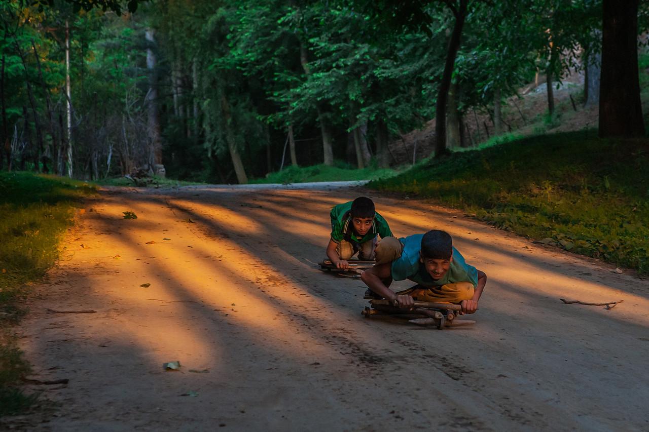 Ground surfing game, Kashmir, India