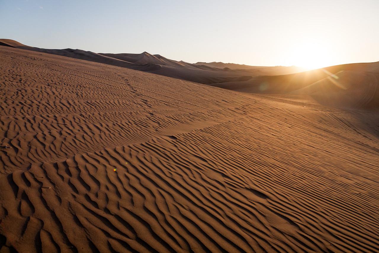 Ripples in the sand around the desert of Huacachina, Peru