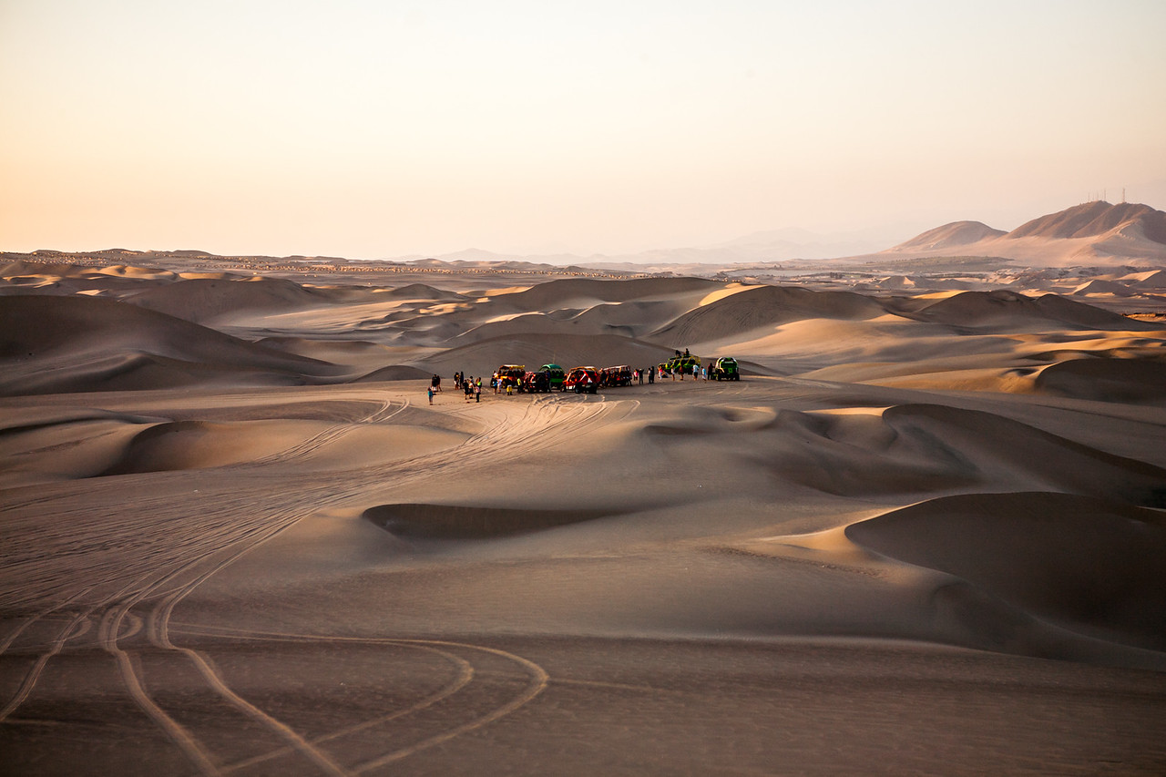 Buggies and sand dunes of Huacachina, near Ica, a city in Peru