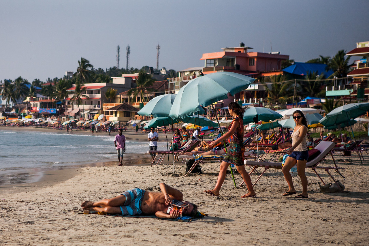 Relaxing at the Kovalam beach, Kerala, India