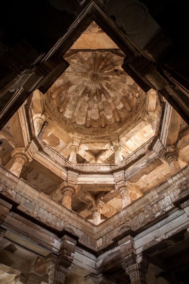 Decorated tops of the Jami Masjid at Champaner in Gujarat, India