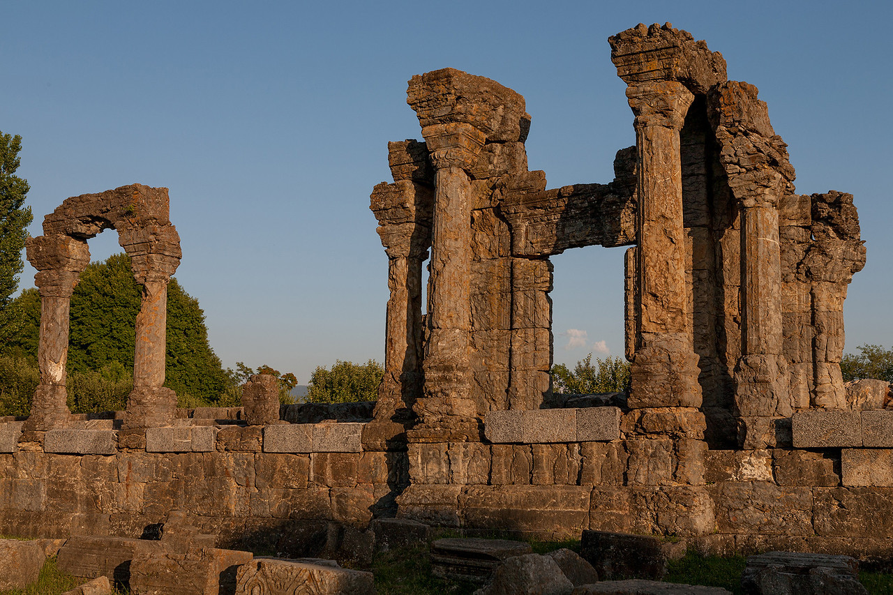 Ruins of an old sun temple in Martand, Kashmir, India
