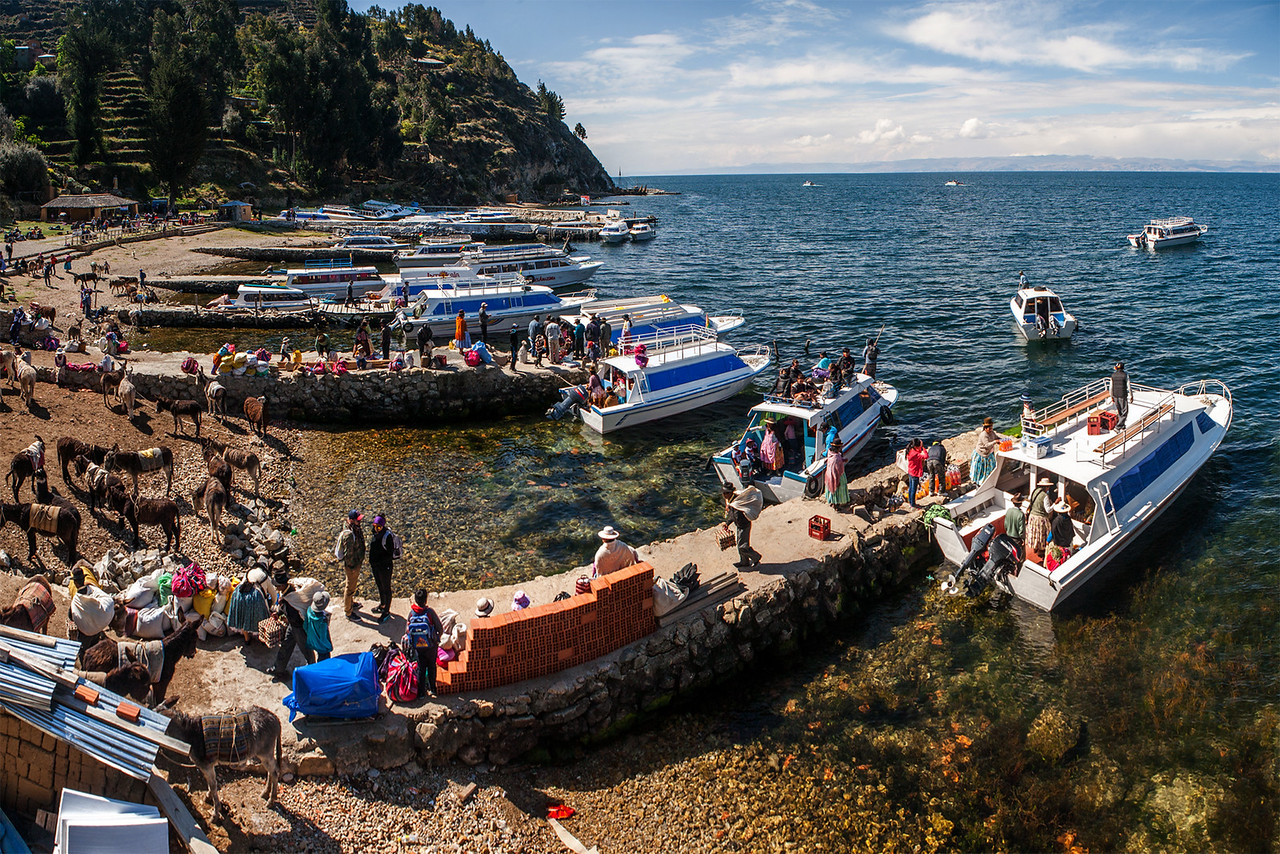 Activity at the port of Yumani on the south side of Isla del Sol in lake Titicaca, Bolivia