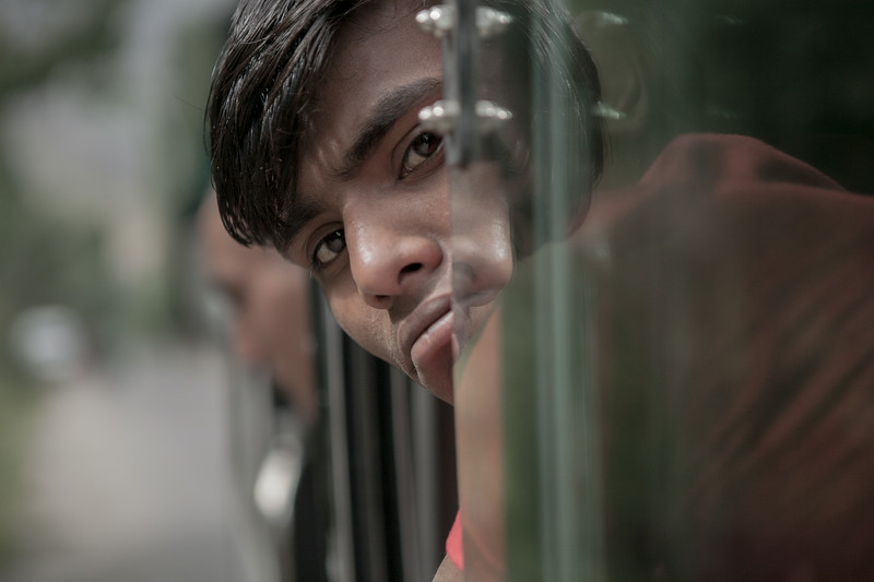 Portrait of a bus passenger from Sankoo, Kargil, India
