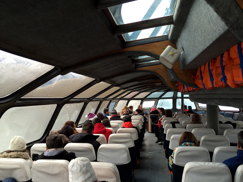 Inside the boat going to Perito Moreno glacier, Patagonia, Argentina