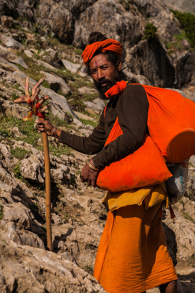 Sadhu en route Amarnath, Kashmir, India