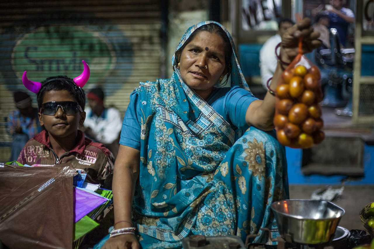 Night market during Makar Sankranti, Ahmedabad, India