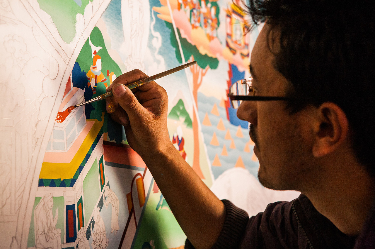 Creating art at Hemis monastery, Ladakh, India