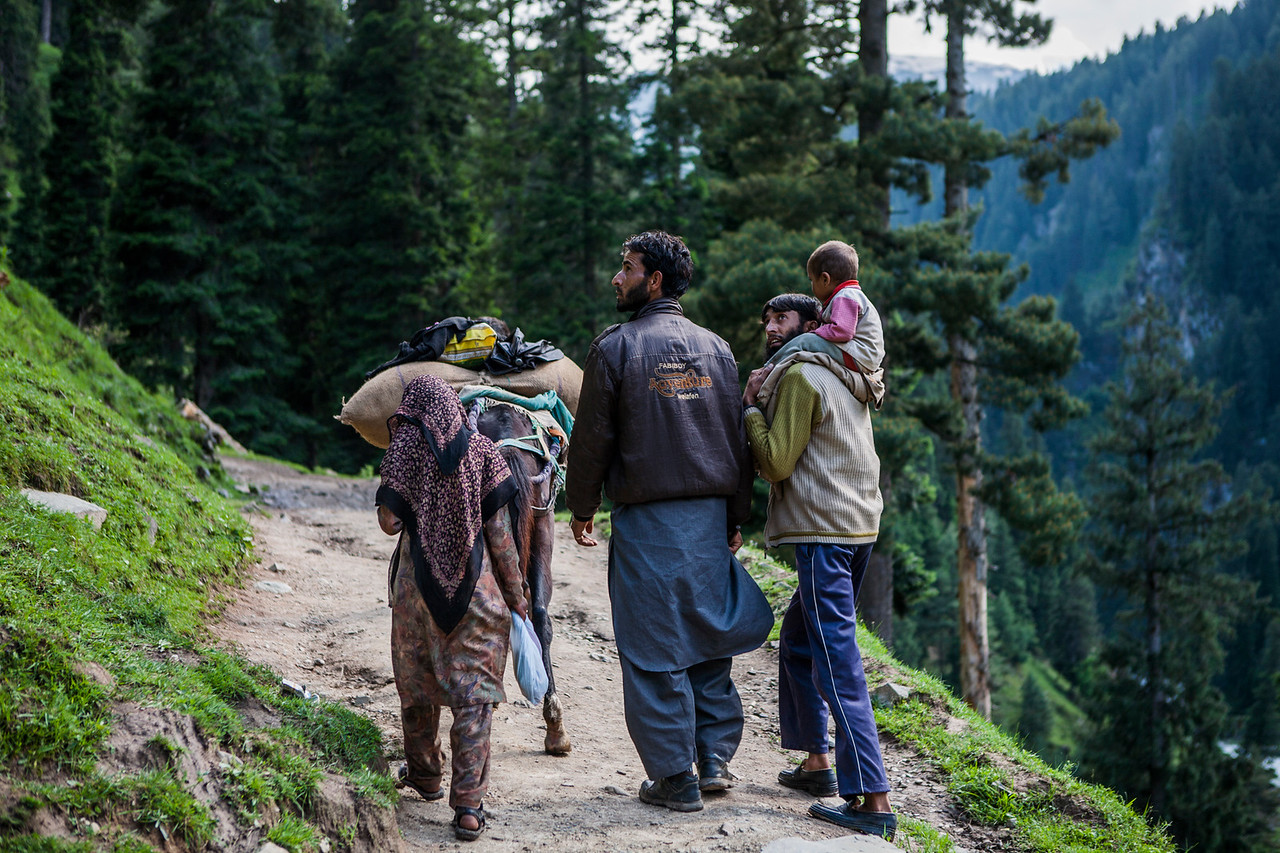 Nomads walking to the Kungwatar meadows from Aharbal waterfalls, Kashmir