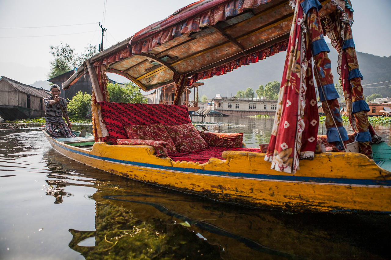 Colourful shikara on the Dal lake in Srinagar, Kashmir