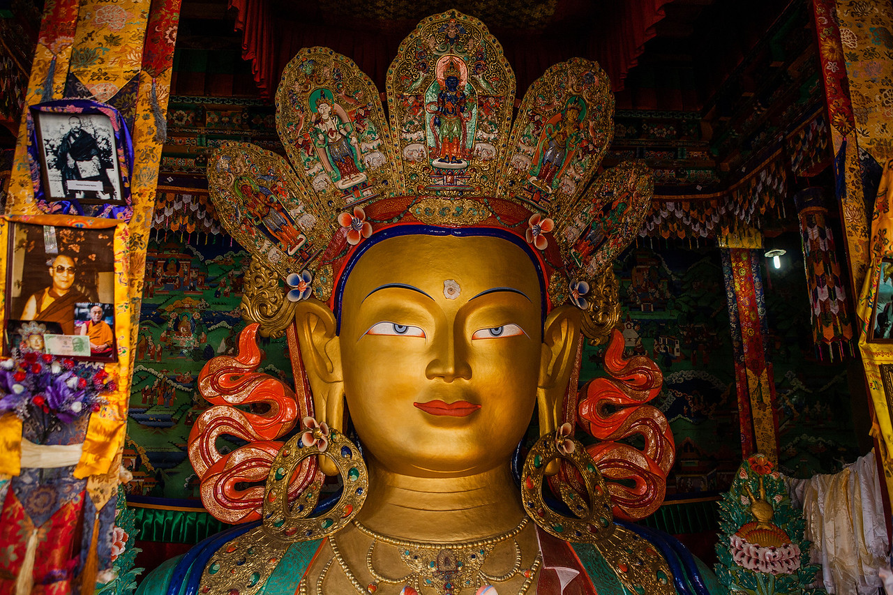 Two storeyed Buddha statue at Thiksey monastery in Ladakh, India