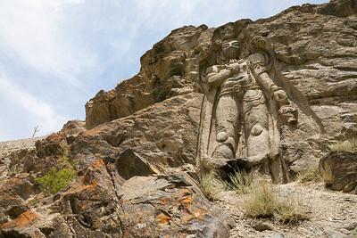 Tallest rock cut statue of the Maitreya Buddha in Karste Khar near Kargil in Suru valley, India