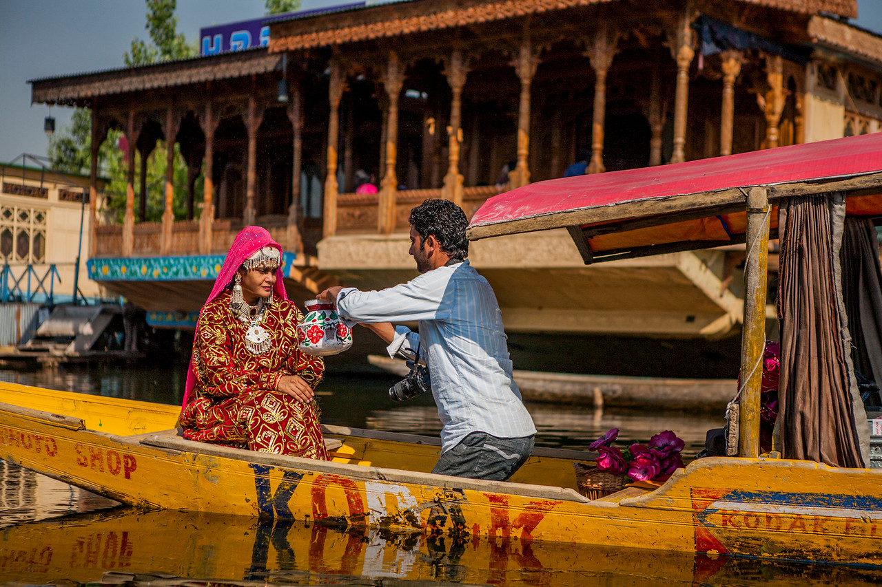 Photographer on Shikara, Srinagar, Kashmir, India