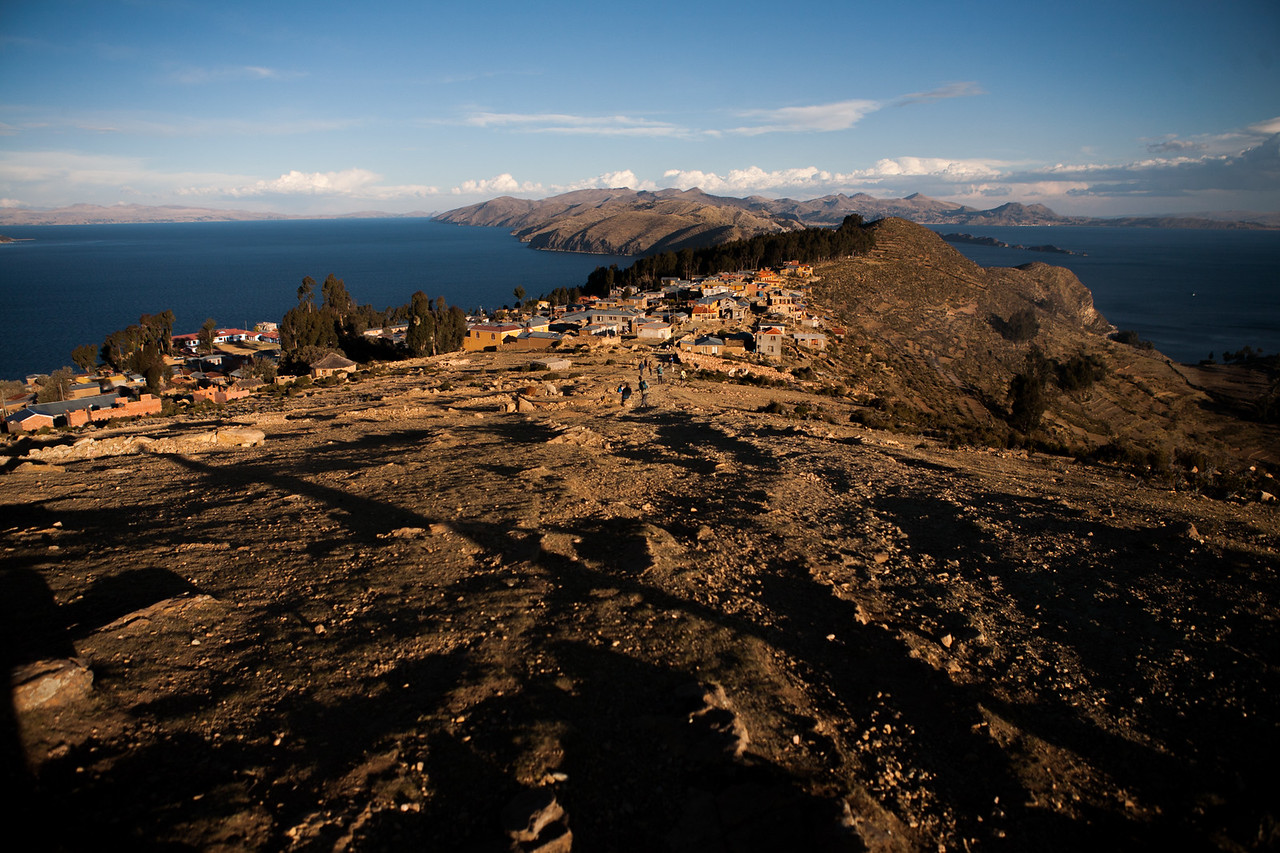 The village Yumani spread over the south side of Isla del Sol, an island on Lake Titicaca, Bolivia