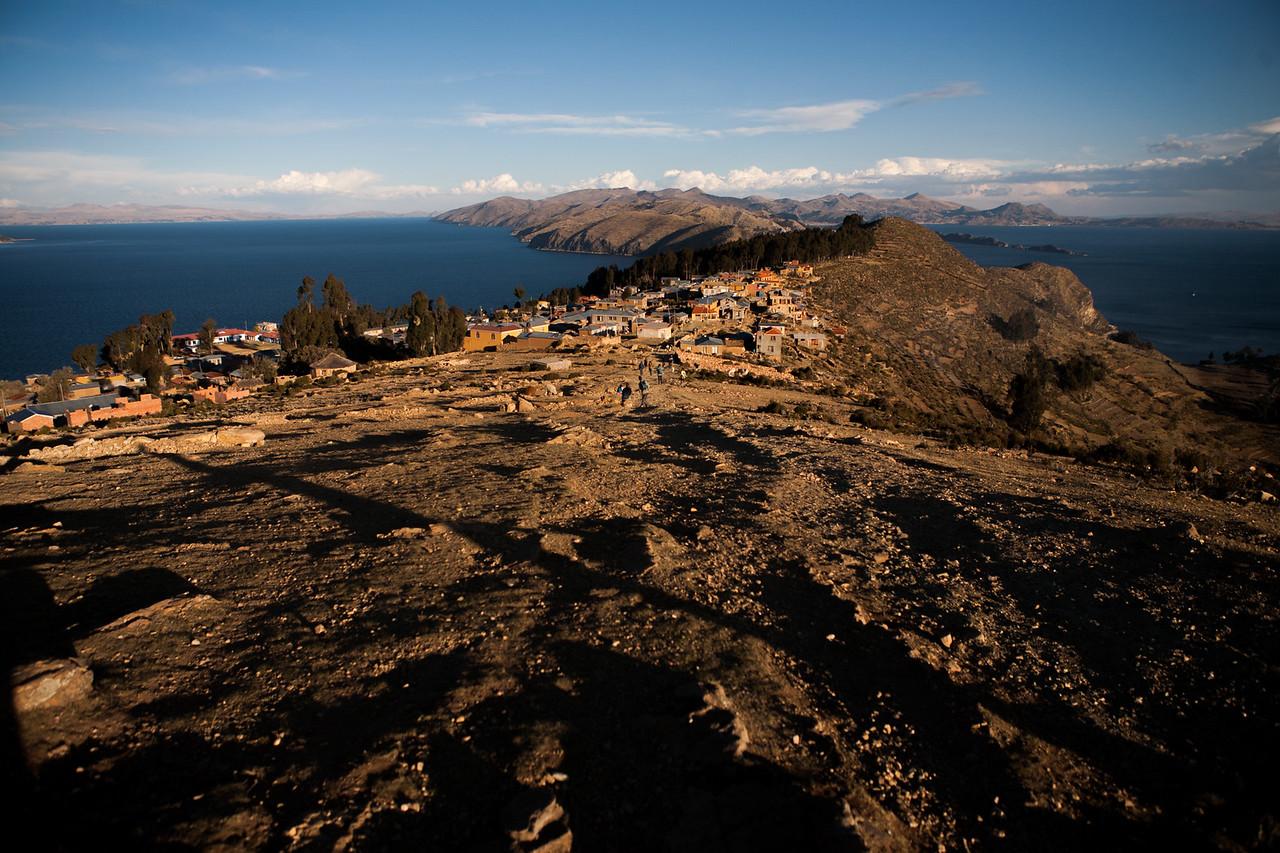 The village Yumani spread over the south side of Isla del Sol, an island on Lake Titicaca, Bolivia