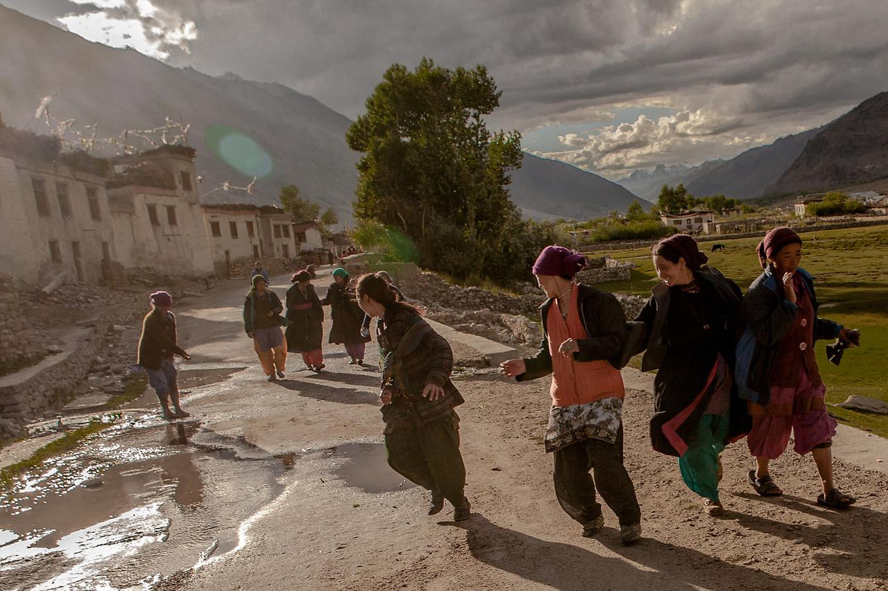Girls having some fun, Sani, Zanskar, India