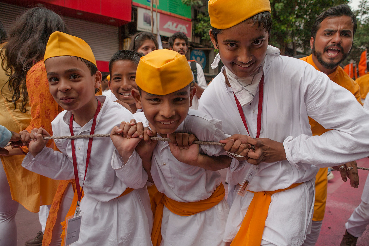 Kids enjoying the Ganesh festival in Pune, India