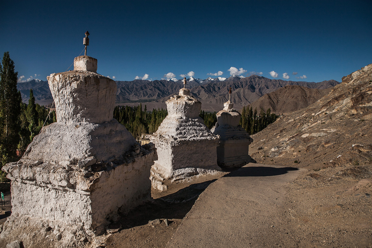 Stupas that mark the boundary of every village in Ladakh, India