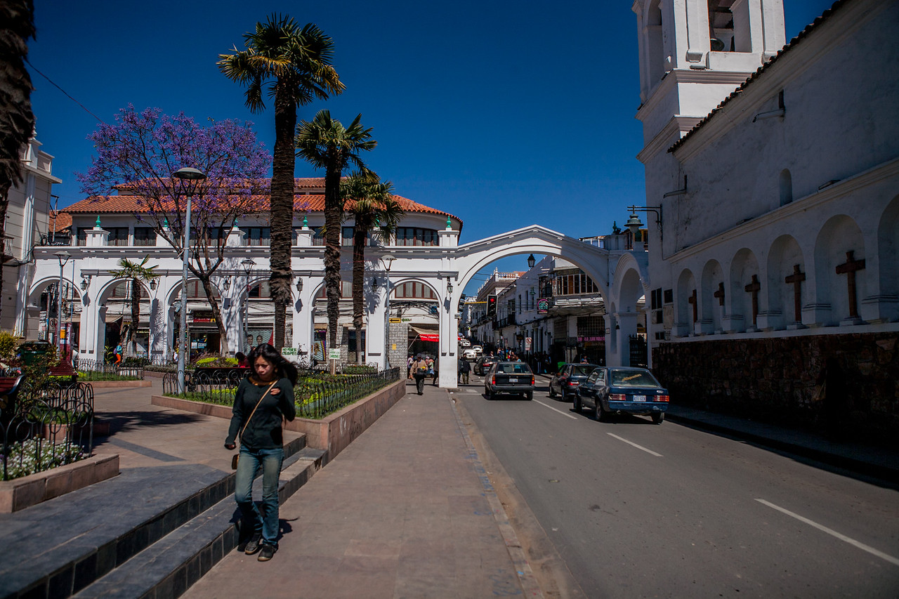 Old colonial buildings in the heritage city of Sucre, Bolivia