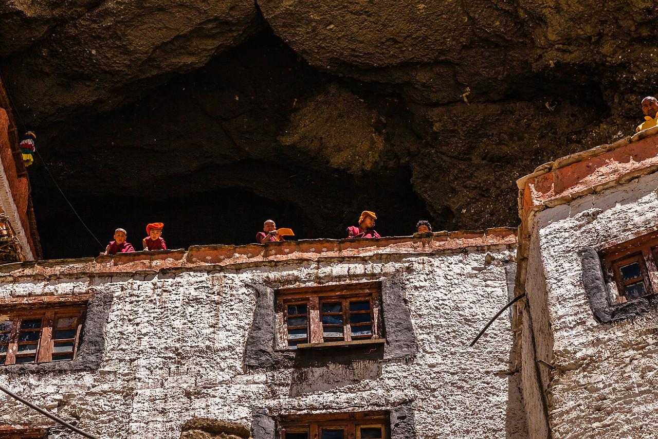 Monks living in caves, Phuktal monastery, Zanskar, India