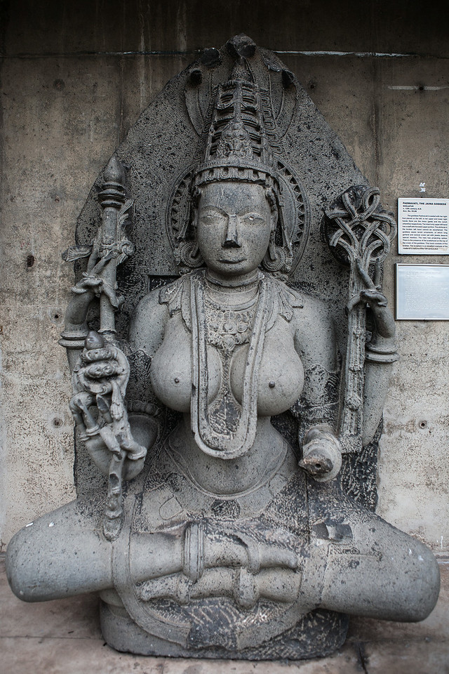 Godess Padmavati Medieval period sculpture in stone. Chandigarh, India
