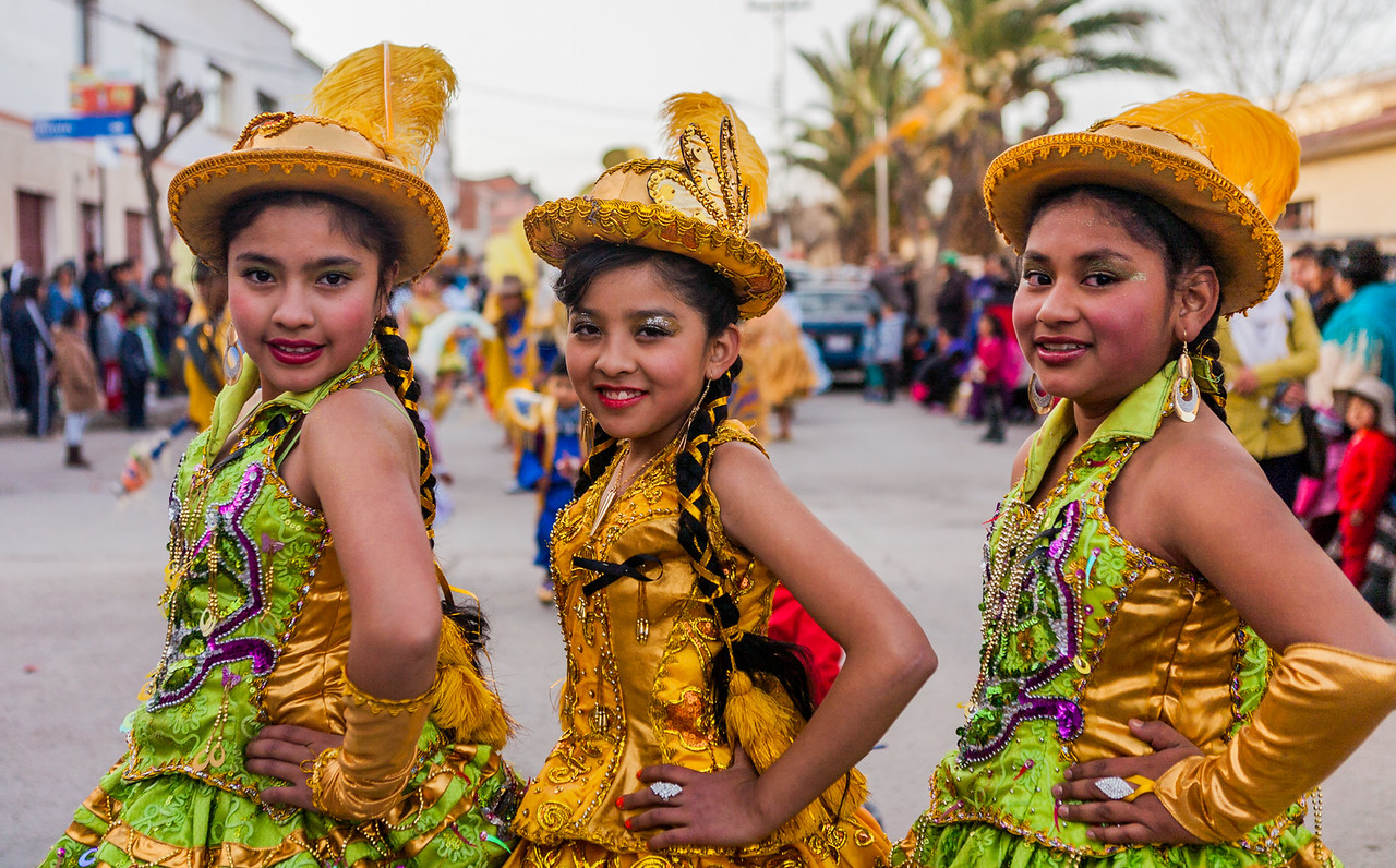 Young girls dressed up for the festival of the Virgin of Guadalupe in Tupiza, Bolivia