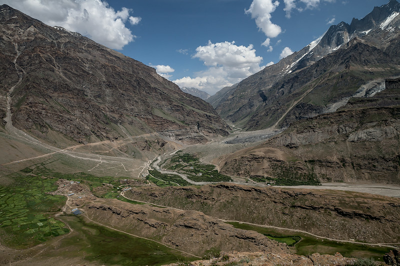Suru valley spread out on one side of the Parkachik la, India