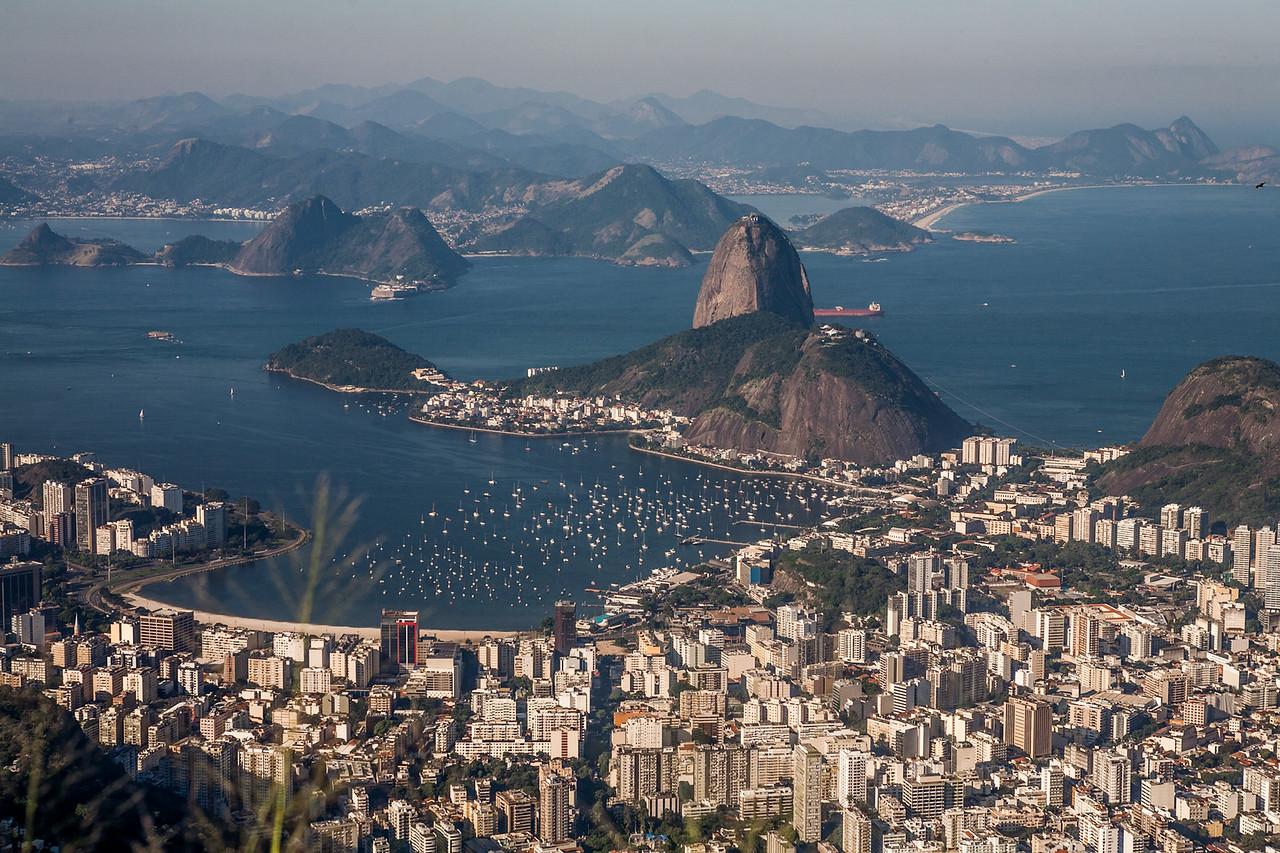 A view of the city Rio de Janeiro from Christ the Redeemer, Brazil