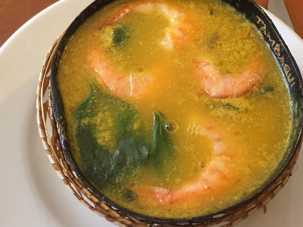 Prawns gnocchi in Manaus, a major city in the Amazon forest, Brazil