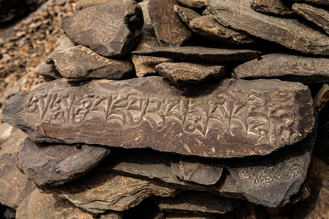Tibetan scriptures carved on rocks in Zanskar