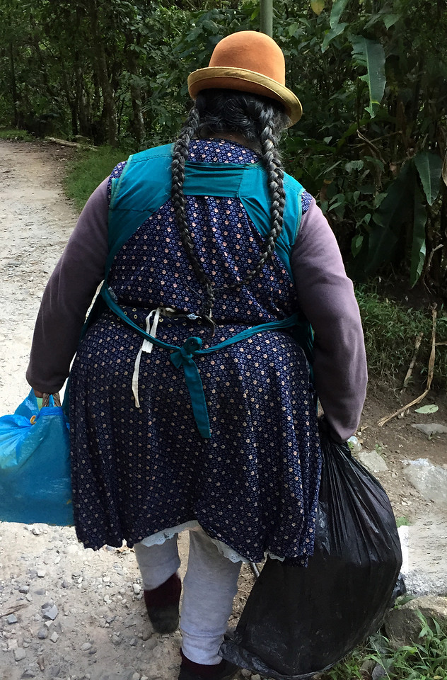 Cholitas walking along the railway tracks