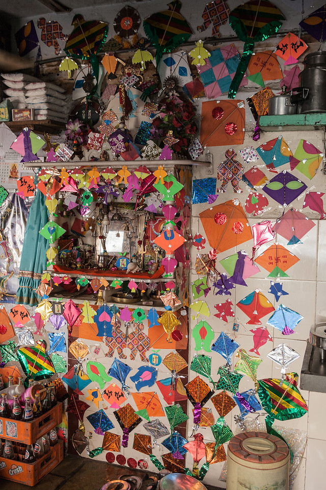 Home decorated on the Kite Festival, Ahmedabad, India