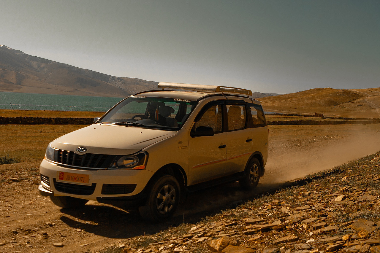 SUV going to Tso Moriri, a mountain lake in Ladakh, India