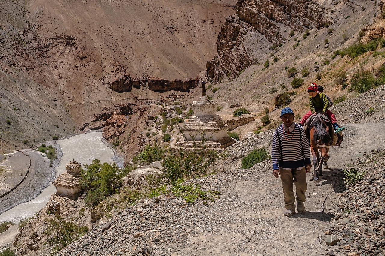 Path leading to Phuktal monastery, Zanskar, India