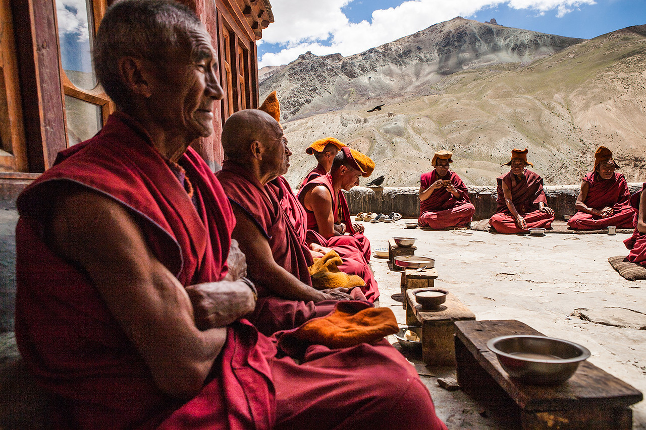 Lunch time at Phuktal  monastery, Zanskar, India