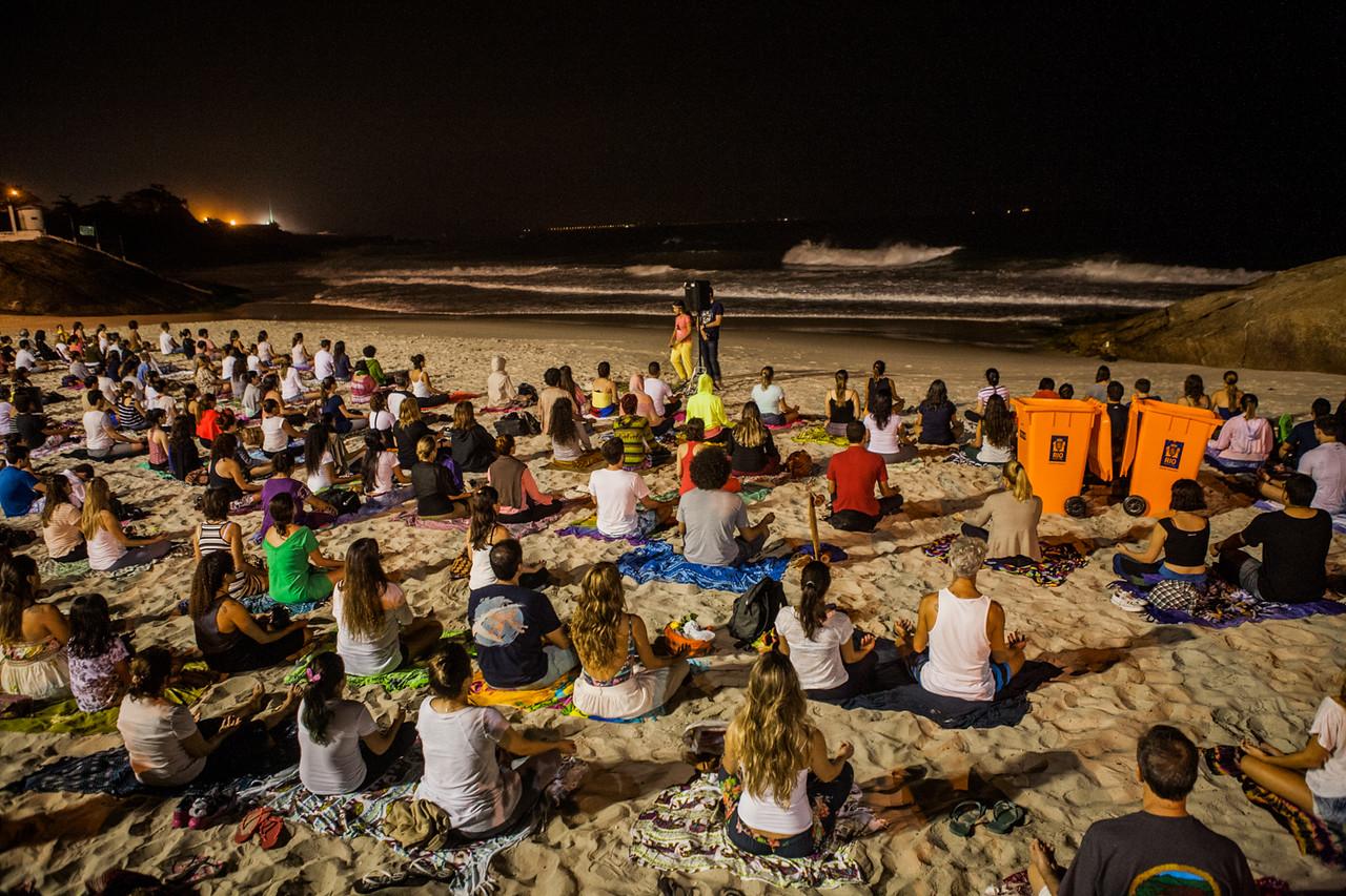 Open air yoga sessions at Ipanema beach, Rio de Janeiro, Brazil