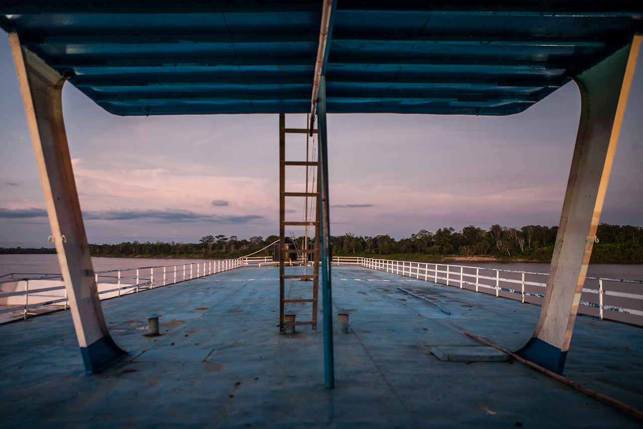 The upper deck of the boat in which we traveled from Yurimaguas to Iquitos over the Amazon river, Peru