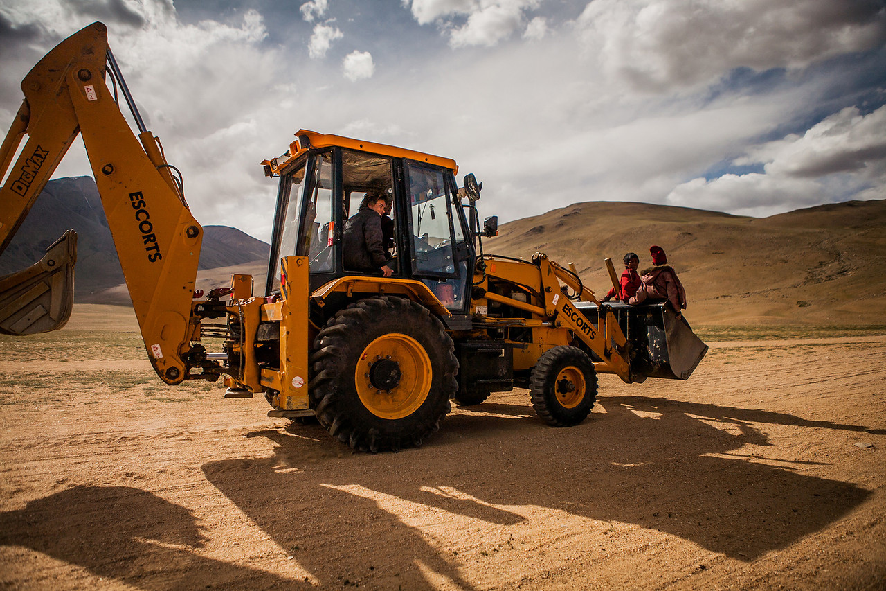 Bulldozer ride near Tso Moriri, Ladakh, India