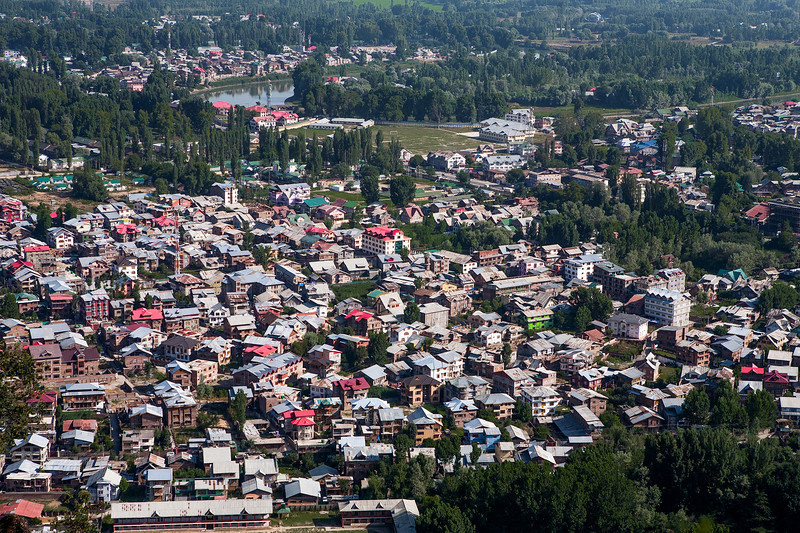 Aerial view of Srinagar, Kashmir, India