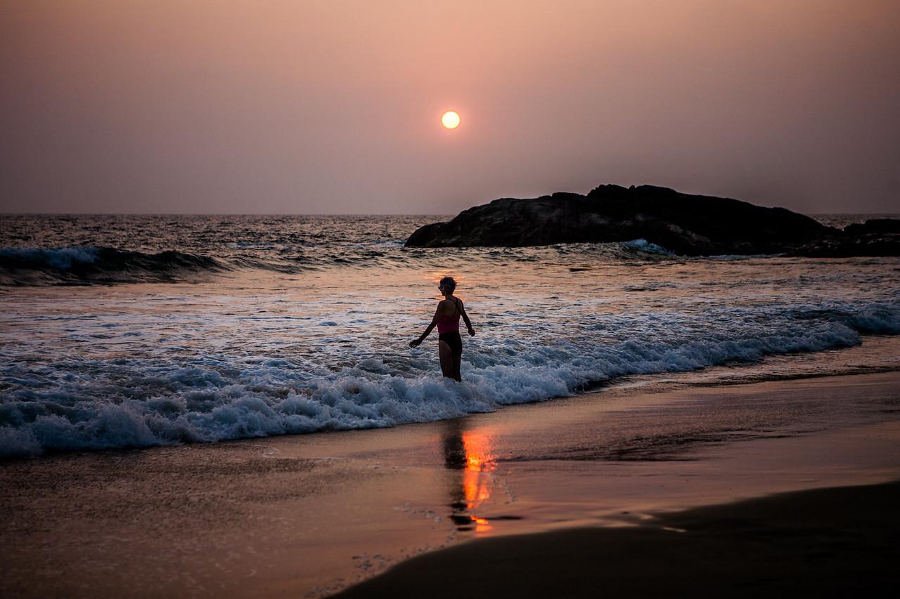 Sunset at Kovalam beach, Kerala, India