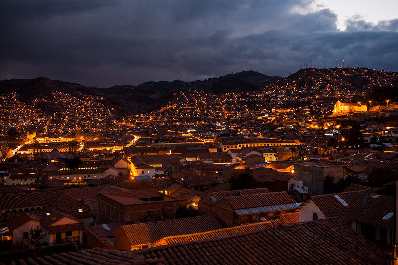 Night view of Cusco, Peru