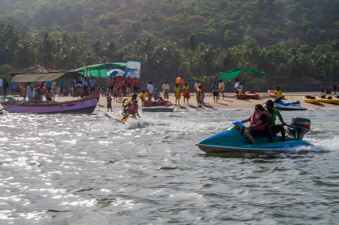 Tourists enjoying water sports at Tarkarli a coastal village on the Konkan coast in south Maharashtra