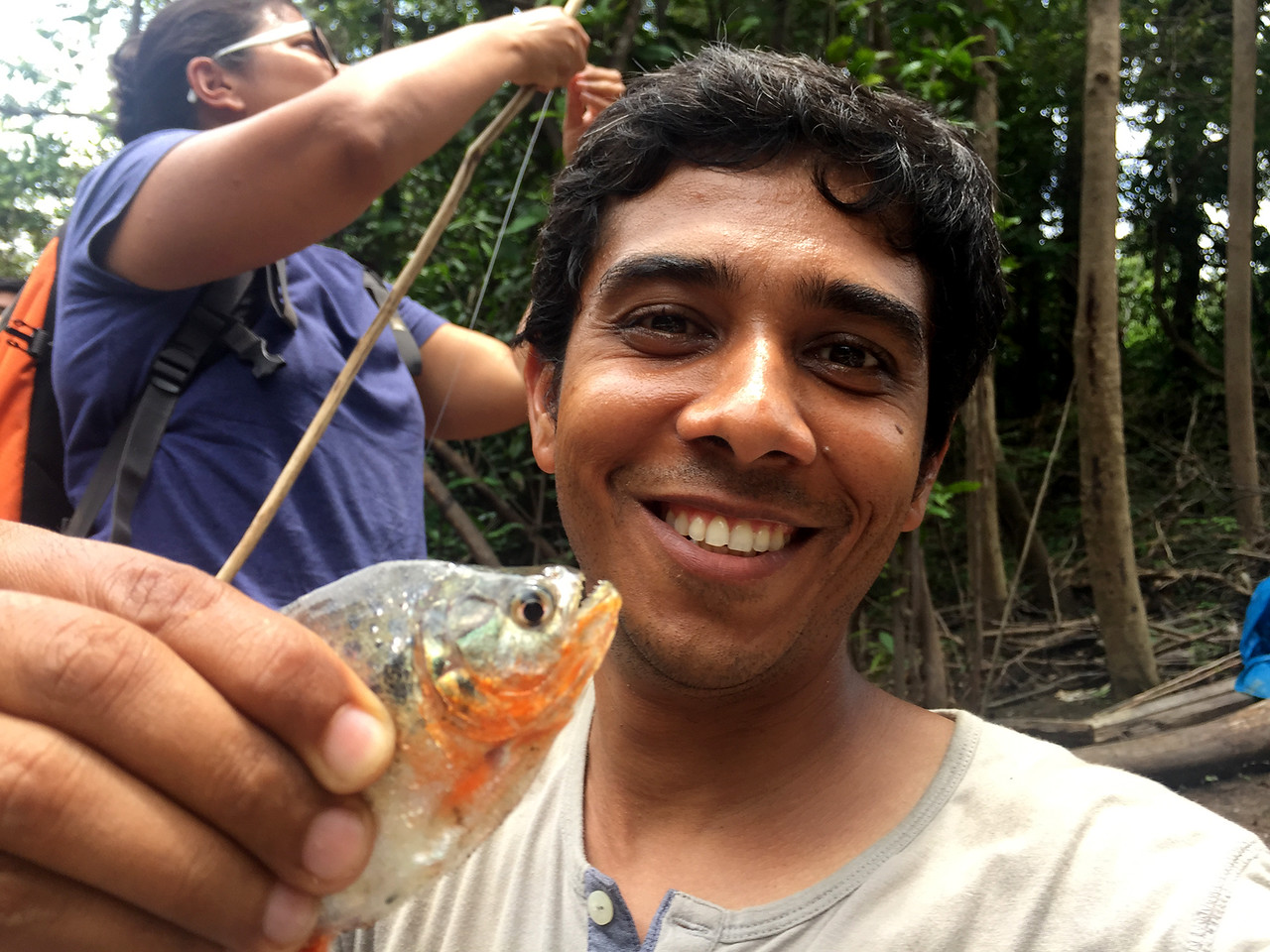 Fishing for the piranha in the Amazon river