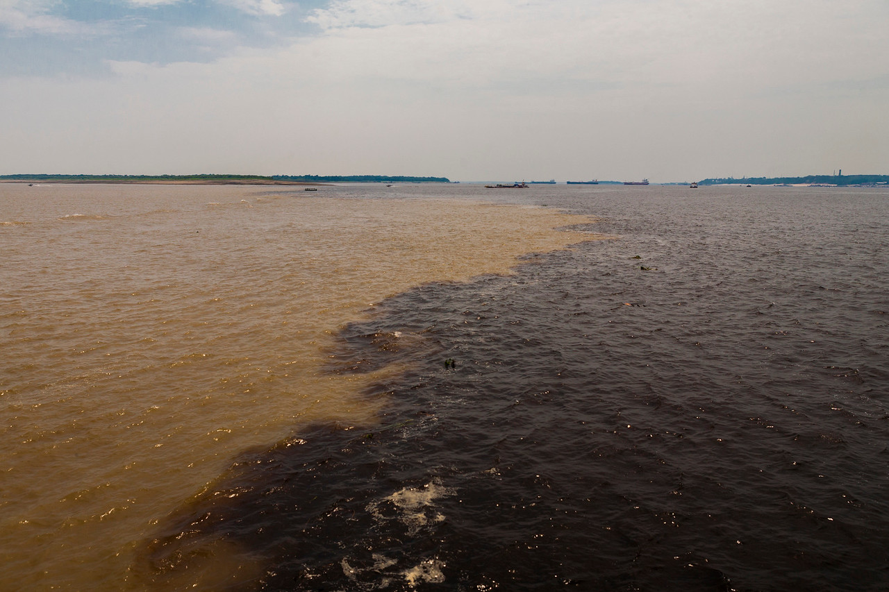 The famous confluence of the never mixing rivers of the Amazon in Brazil