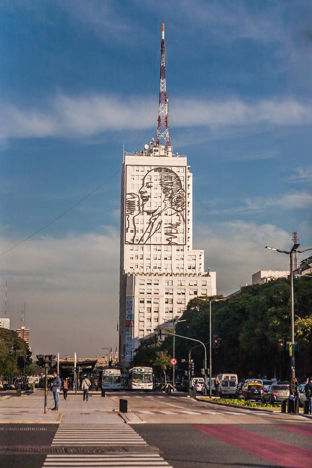 Mural of Eva Perón on 9 de Julio Avenue, Buenos Aires, Argentina