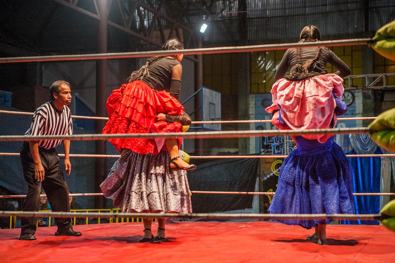 Cholitas wrestling in La Paz, Bolivia